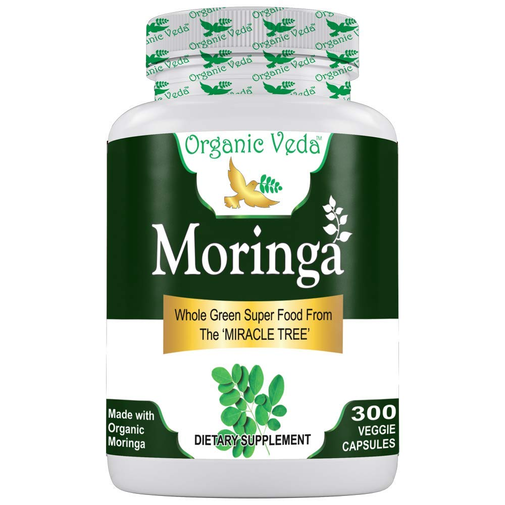 Organic Moringa Powder 300 Veggie Capsules. 100 Pure and Natural Raw Herbal Dietary Super Food Supplement. Non GMO, Gluten FREE. US FDA Registered Facility.