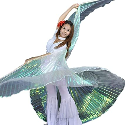 Calcifer Egyptian Egypt Belly Dance Wings Isis Wings Costume Gift for Big  Party Christmas (Multicolor&Transparent White)
