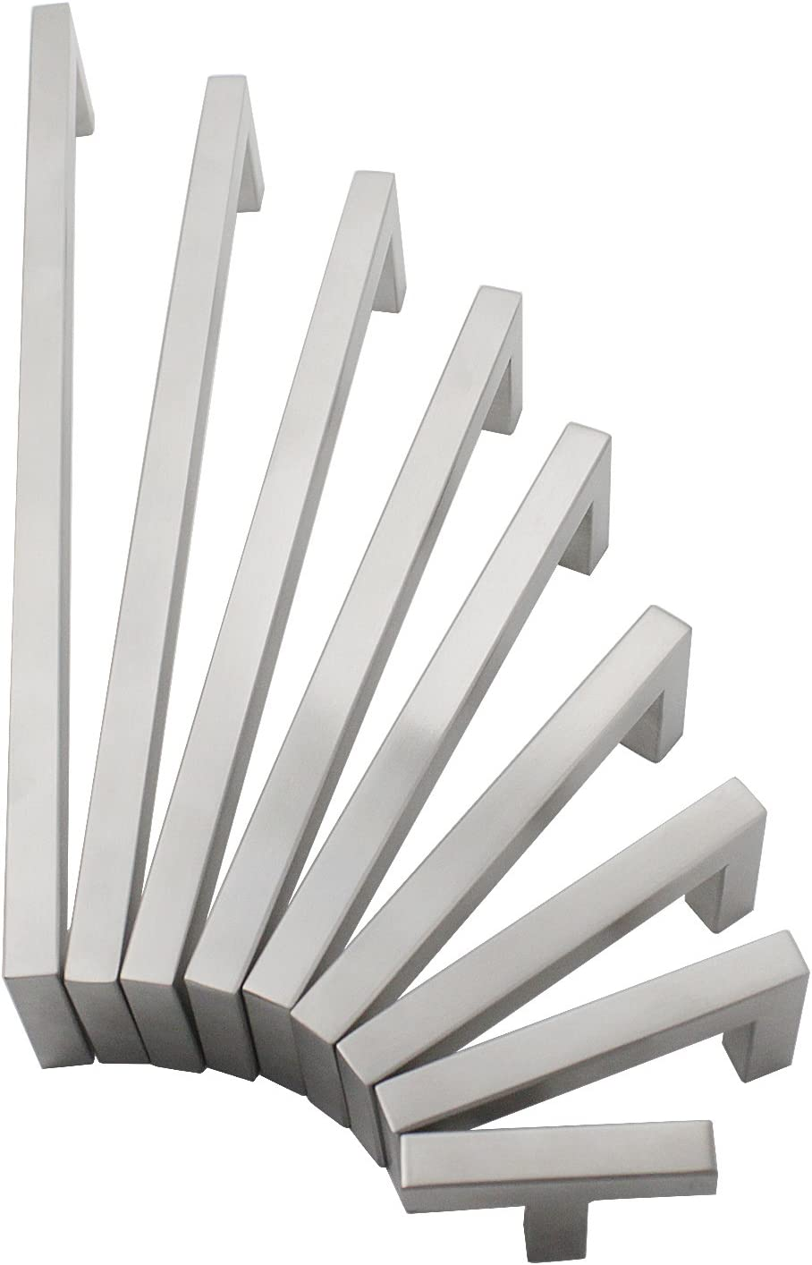 Gobrico Square Kitchen Cabinetry Pulls and Handles 3 Hole to Hole Centers,3.39 Length,10mm Width,10Pack,Satin Nickel Finished