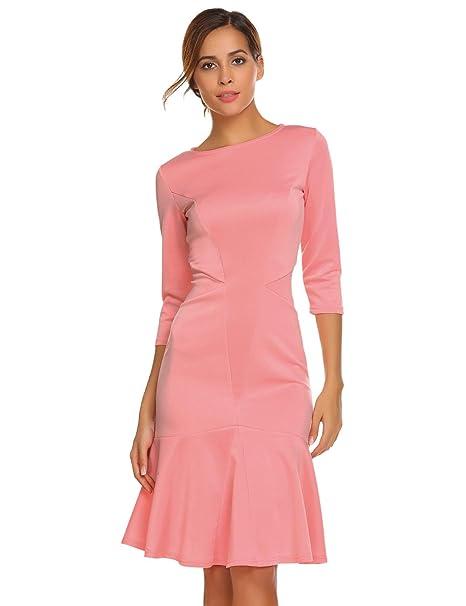8bb98ee492d Meaneor Damen Herbst Winter Meerjungfrau Figurbetontes Kleid Einfarbig  Etuikleid Basic Businesskleid Cocktailkleid mit 3