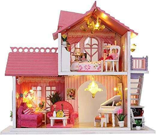 Music Box #2 LED Light DIY Assembly Miniature Dollhouse Kit with Furniture
