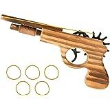 Kitchnexus Pistolet à Elastique Simulation Jouet en Bois pour Enfants Longuer de 23cm