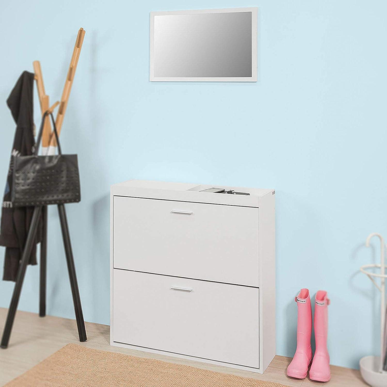 sobuy fsr61 w schuhkipper mit spiegel wandspiegel schuhregal schuhschrank schuhkommode mit 2. Black Bedroom Furniture Sets. Home Design Ideas