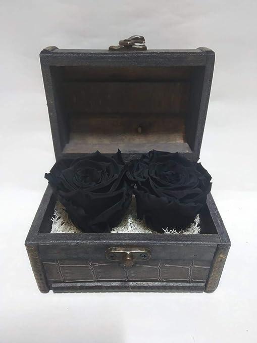 Rosas eternas Naturales Negras en Cofre de Madera. Gratis TU ENVÍO ...