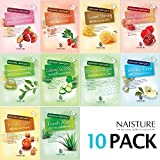 Collagen Facial Sheet Mask Pack (10 Sheets) Face Treatment [NAISTURE] Essence Face Masks - 15 Minute Application For Countless Natural Benefits 0.8 oz, Made in Korea - Assorted Sampler Pack