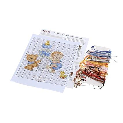 Amazon.com: 26.5 22cm DIY Handmade Counted Cross Stitch Set Embroidery Needlework Kits Babyx27;s Bottle Toy Pattern Cross Stitching Home Decoration 14CT: ...