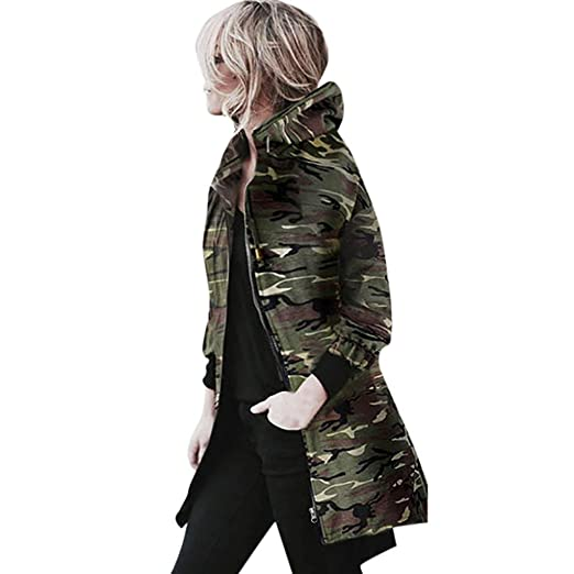 d7dd2780f1e01 Jushye Hot Sale !!! Women's Hoodies Coat, Ladies Hooded Long Sleeve Coats  Zipper Jacket Windbreaker Winter Camouflage Outwear at Amazon Women's  Clothing ...