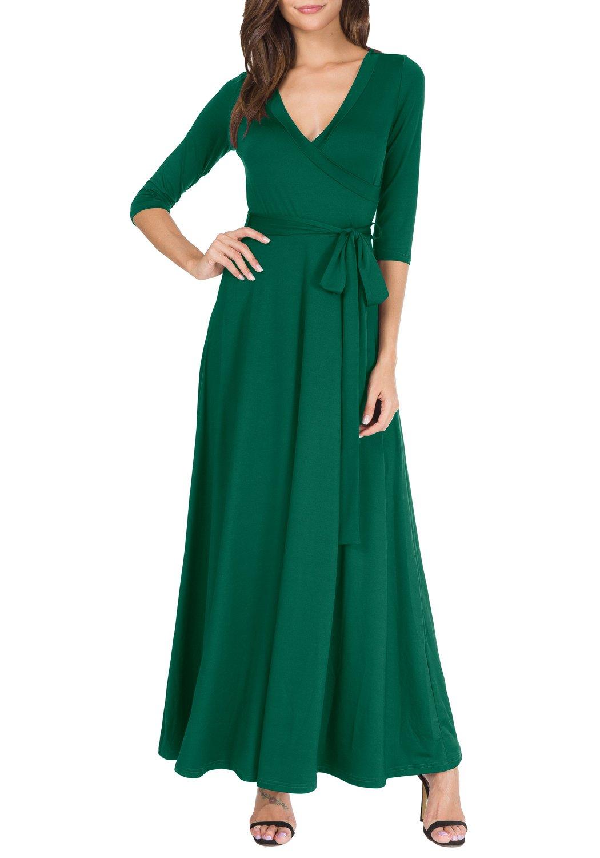 levaca Womens 3/4 Sleeve Draped Slimming Belt Swing Casual Picnic Maxi Dress Green L