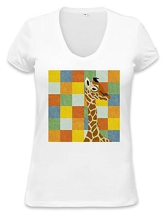 84510147 Giraffe Squared Pattern Womens V-neck T-shirt XX-Large: Amazon.co.uk:  Clothing