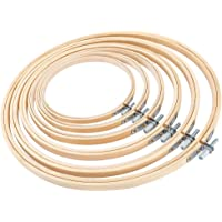"""WOWOSS 6 Pieces Embroidery Hoop Set Bamboo Circle Cross Stitch Hoop Ring - Adjustable (5"""" 6"""" 6.7"""" 8"""" 9"""" 10"""")"""