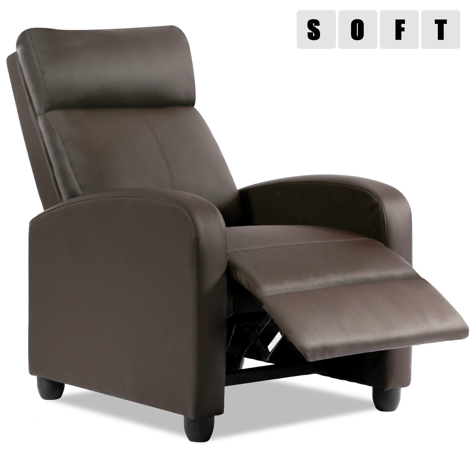 Recliner Chair For Living Room Recliner Sofa Wingback Chair Reading Chair Arm Chair Single Sofa Accent Chair Home Theater Seating Modern Reclining Chair Easy Lounge Brown Amazon In Home Kitchen