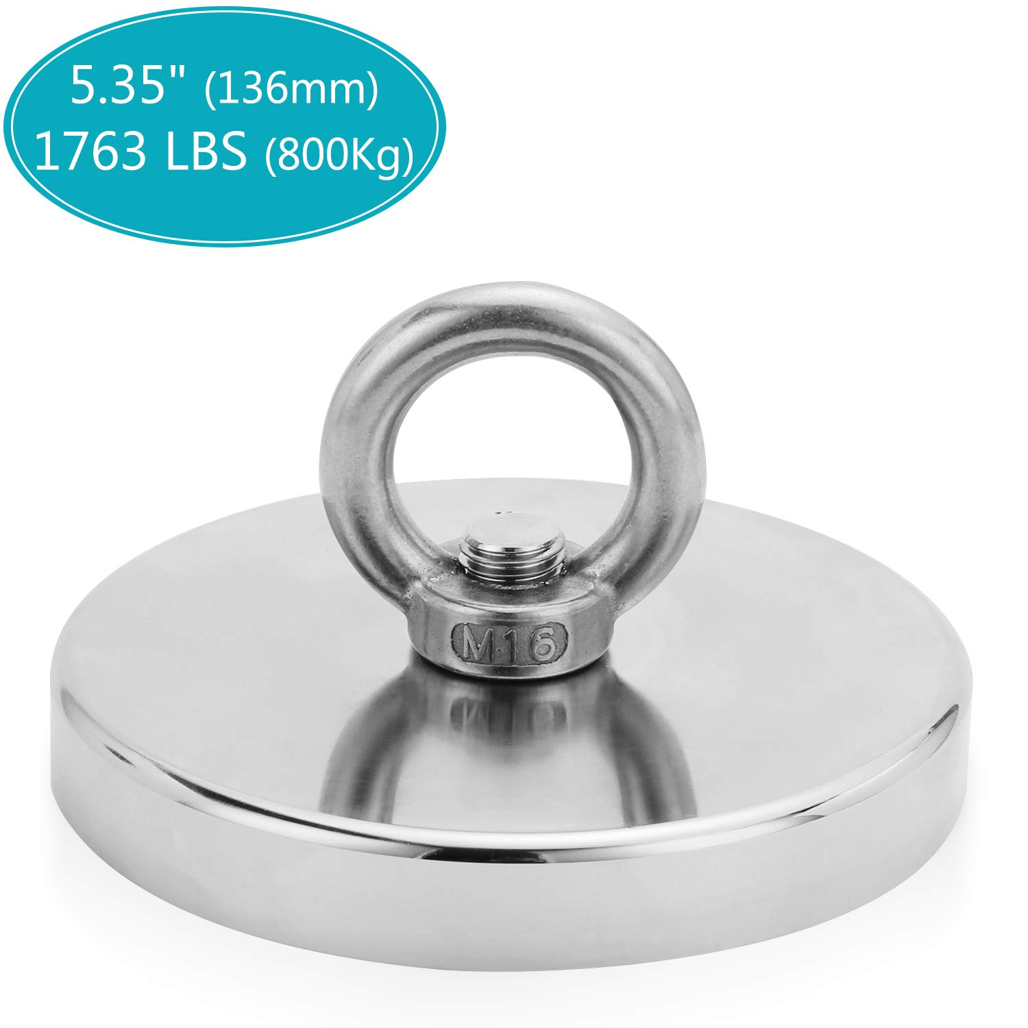 1763LBS Pulling Force(800KG) Powerful Round Neodymium Magnet with Countersunk Hole and Eyebolt, 5.35'' Diameter, Great for Salvage or Magnetic Fishing-The Largest Magnet On Amazon (136MM)