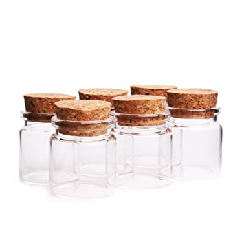 Dealglad - Mini Botellas de Vidrio, Tarros con Tapones de Corcho / Mensajes, Bodas