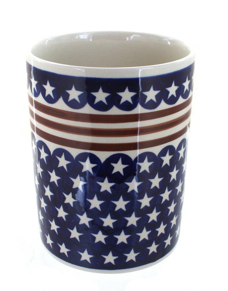 Polish Pottery Stars and Stripes Utensil Jar by Blue Rose Pottery