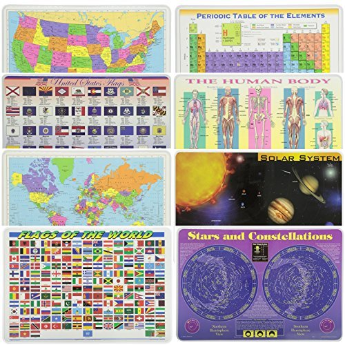 Painless Learning Educational Placematsfor Kids USA Map, States Flags, World Map, World Flags, Periodic Table, Human Body, Solar System, Stars 8 Pack