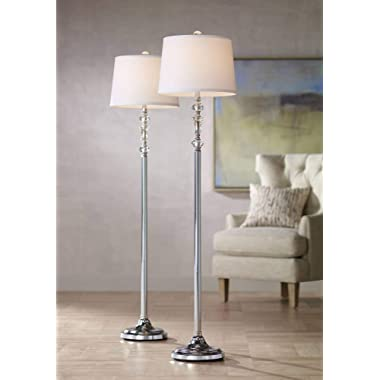 Montrose Modern Floor Lamps Set of 2 Polished Steel Crystal Glass White Fabric Drum Shade for Living Room Reading Bedroom - 360 Lighting