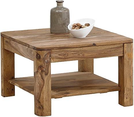 Boston Coffee Table 70 X 70 Cm Natural Sheesham Solid Wood Coffee Table Amazon De Kuche Haushalt