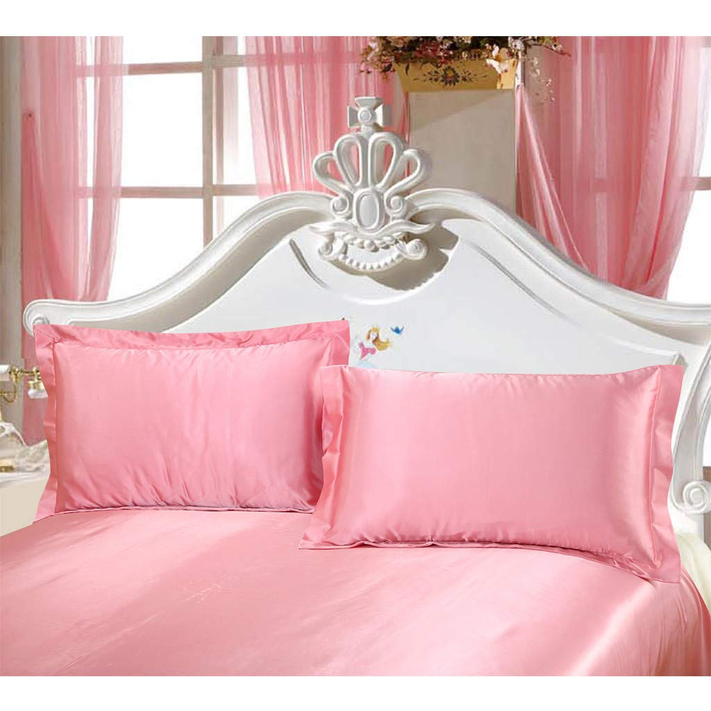Beyonds Skin-Friendly Pink 3 Piece Bride Bed Set - Silk Soft Three Bed Set for Deeper Sleep Includes 1 x Fitted Sheet 2X Pillowcase - Home School Bed Decor