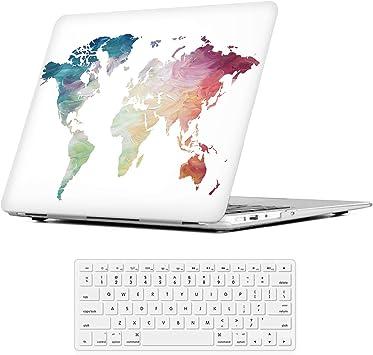 Mapa del mundo blanco iLeadon MacBook Pro Funda de 13 pulgadas Modelo A1278 Carcasa de cubierta dura Tapa del teclado para MacBook Pro 13