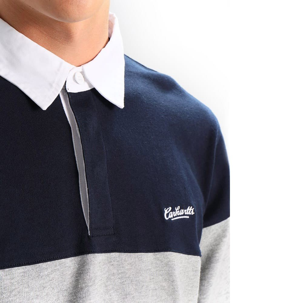 Carhartt L/S Vintage Brush Rugby Polo Navy White - S: Amazon.es ...