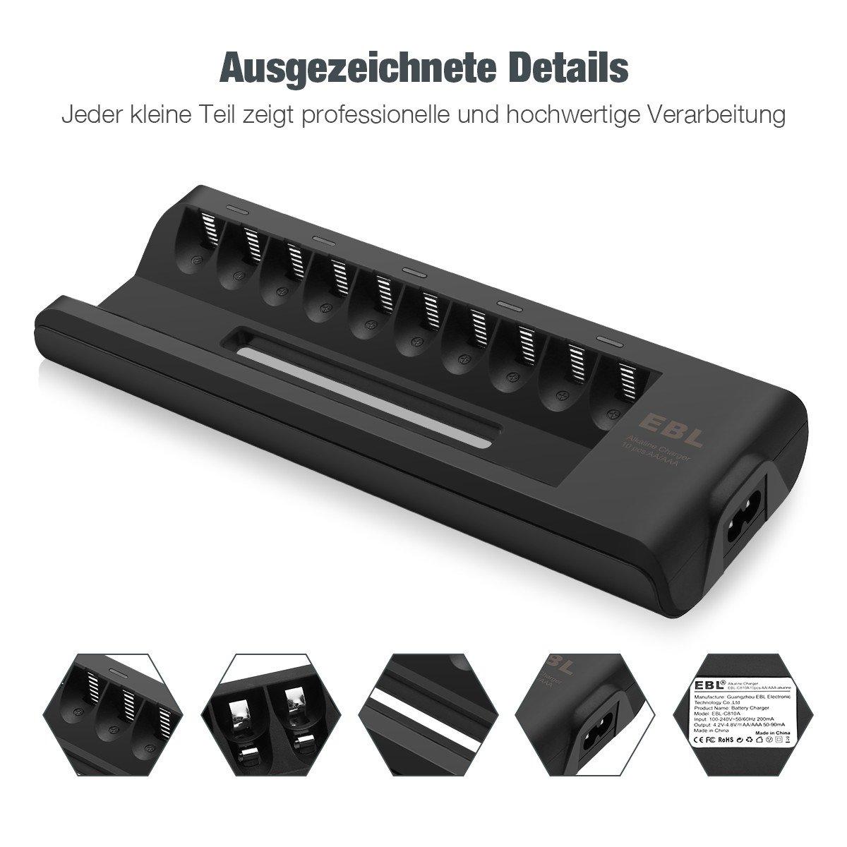 EBL Batterie Ladegerät für 10 Stücke AA AAA Alkaline Batterien(Akkus nicht inkl.)