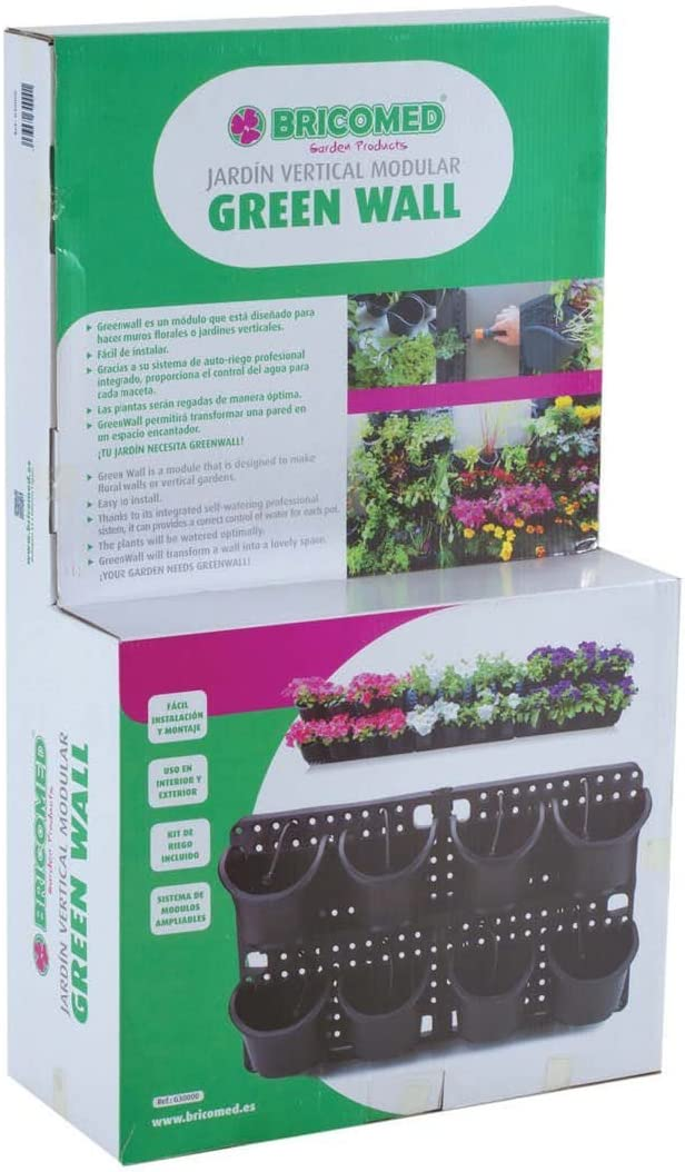 Bricomed Green Wall Jardín Vertical Modular, Verde Agua, 60x30x20 ...