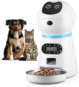 Nufun 0.92 Gal Automatic Cat Dog Feeder Container,10s Voice Recorder Indoor Timed Auto Dry Food Dispenser for Small & Medium Pet