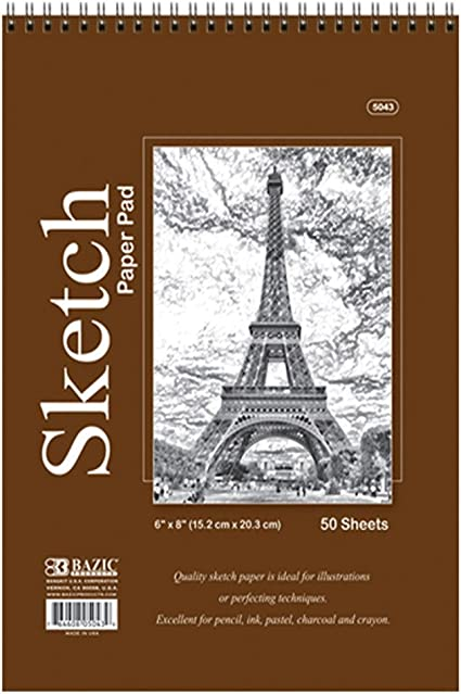 """High Quality Spiral Premium Sketch Book Drawing Paper Pad 50 Sheets 6/"""" x 8/"""" 3"""