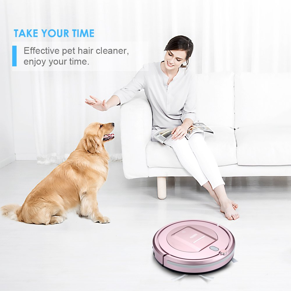 Robot Vacuum Cleaner, GBlife Robotic Vacuums Machine, 3 Cleaning Modes, 500pa Suction, Remote Control Slim Design Smart Sweeping Cleaner for Home Hardwood Floor Tile Carpet and Pet Hair (Rose Gold)