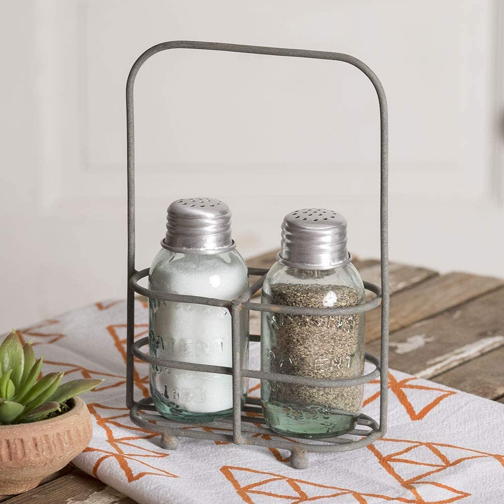 """CTW Home Collection Mason Jar Shakers Salt and Pepper Carrier Kitchen Supplies, 4.5"""" Width x 2.5"""" Depth x 7"""" Height, Silver, Clear, Rustic brown"""