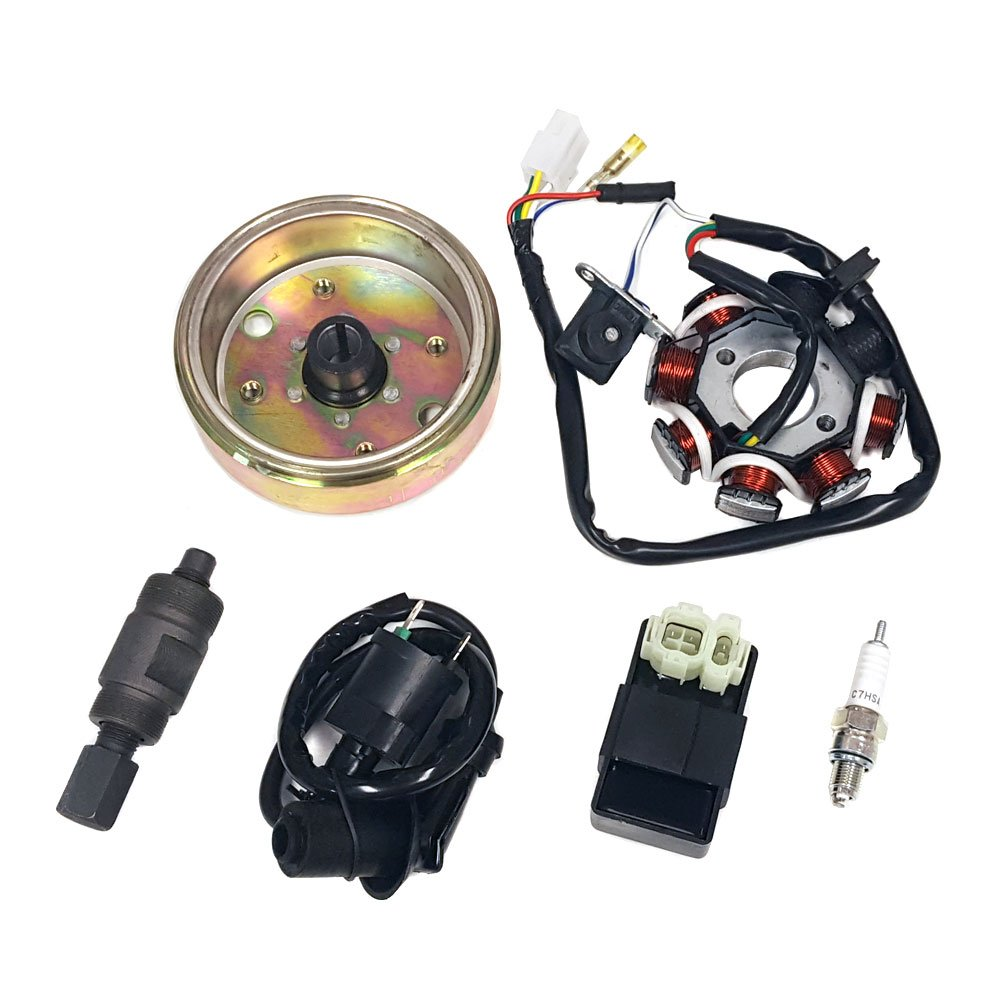 BUNDLE IGNITION REPAIR KIT GY6 Scooter Moped ATV 50cc 80cc | Includes: Flywheel, Stator, Ignition Coil, CDI, Spark Plug and Flywheel Puller Tool (to fix''No Ignition Spark'')