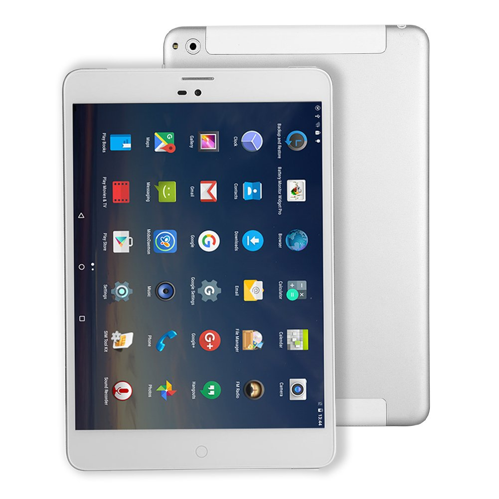 Tablette Tactile Carte SIM Android - Winnovo M798 7.85 Pouces Quad-Core 4G LTE Tablette Té lé phone 1GB de RAM+ 16GB de Stockage Ré solution de 1024x768 IPS WiFi Bluetooth GPS Netflix (Argent)