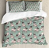 Pug Duvet Cover Set Queen Size by Ambesonne, Dogs with Various States Sitting Standing Stretching Cute Cartoon Style Pet Drawing, Decorative 3 Piece Bedding Set with 2 Pillow Shams, Turquoise