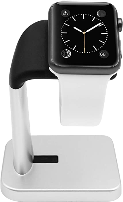 Macally Apple Watch Stand Holder - The Perfect Nightstand iWatch Charging Dock Station - Compatible with Smartwatch Series 5, Series 4, Series 3, Series 2, Series 1 (44mm, 42mm, 40mm, 38mm)
