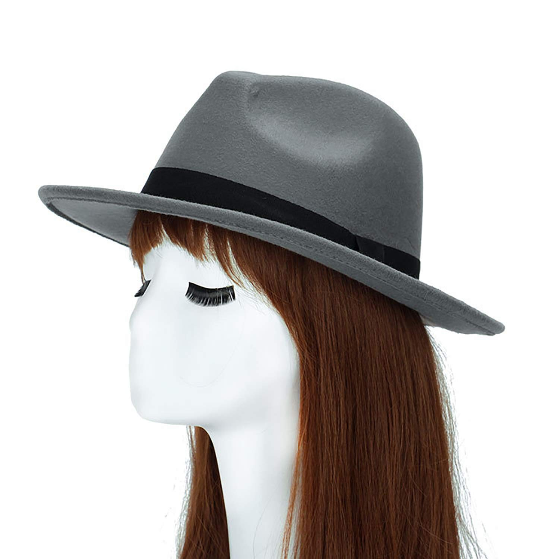 Women Men Fedoras Vintage Wool Blend Decors Winter Flat Wide Brim Bowler Hat Cap Gift