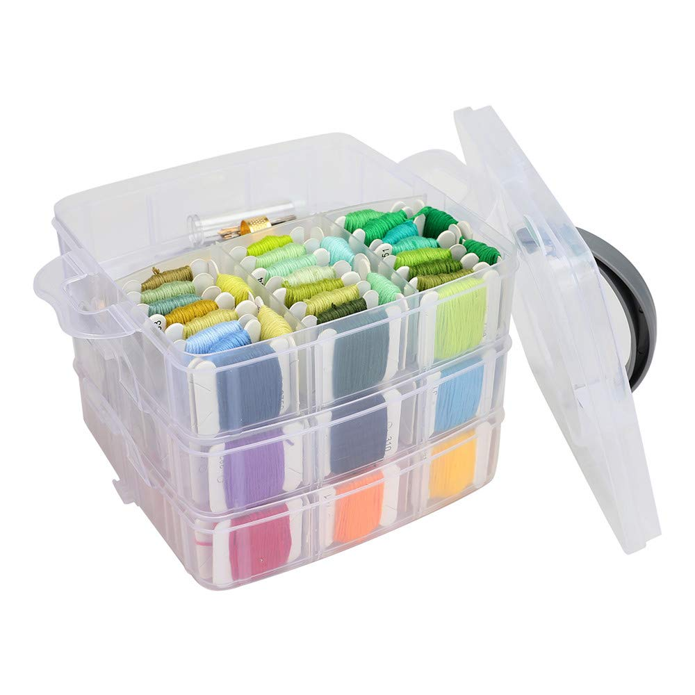 195PCS Embroidery Skeins Set Colorful Cross Stitch Sewing Thread Kit Three-Layer Boxed Knitting Tool for Bracelet Necklace DIY Hair Ring Project