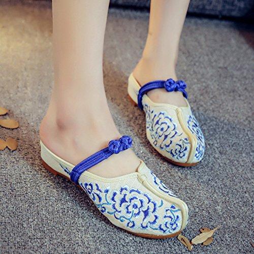 GuiXinWeiHeng xiuhuaxie Zapatos bordados, lenguado de tend¨®n, estilo ¨¦tnico, flip flop femenino, moda, c¨®modo, sandalias blue