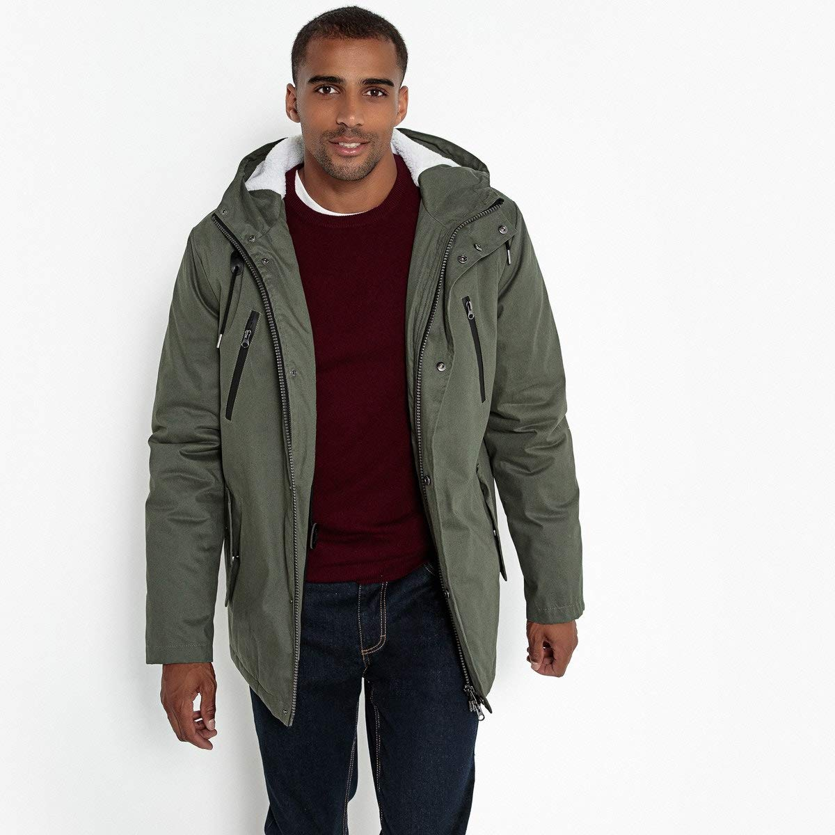La Redoute Collections Mid-Length Parka with Sherpa-Lined Hood