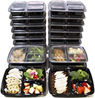 [20 Pack] 3 Compartment Meal Prep Containers BPA Free & FDA Certified Food Grade 3 Compartment Food Containers Portion Control & Stackable Bento Box Lunch Box Food Storage 3 Compartment