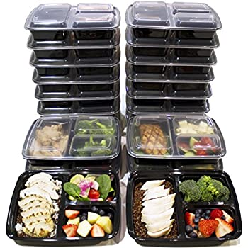 meal prep haven 3 compartment food containers with airtight lid bento box fitness. Black Bedroom Furniture Sets. Home Design Ideas