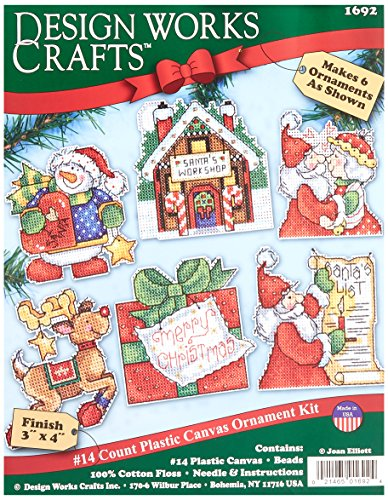 (Tobin Santa's Workshop Ornaments Counted Cross Stitch Kit, 3 by 4-Inch, 14 Count, Set of 6)