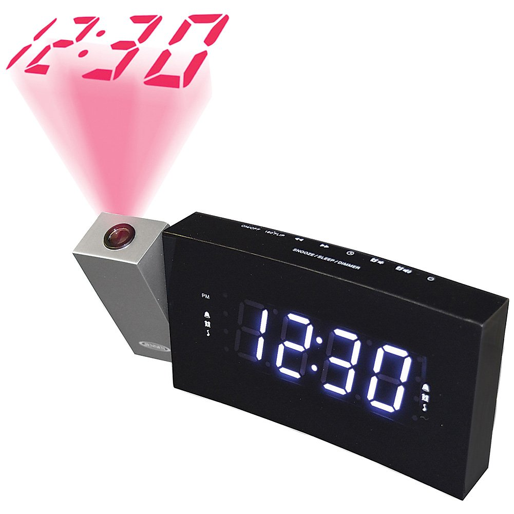 Jensen Compact Time Projection Dual Alarm Clock Radio with Large Easy to Read Backlit LCD Display