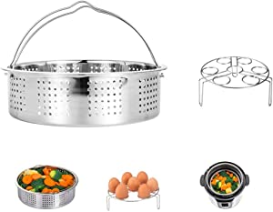 HapWay Stainless Steel Steamer Basket with Egg Steam Rack Trivet Compatible with Instant Pot 5,6,8 qt Electric Pressure Cooker