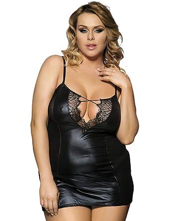 6085ea64c9d45 SEVEN STYLE Women s Patchwork Mesh Lingerie Faux Leather Plus Size ...