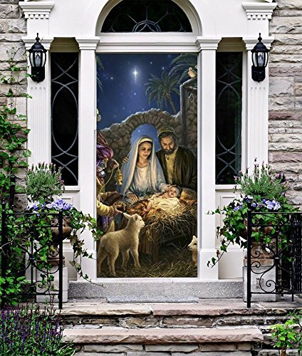 Nativity Door - Holy Night Christmas Entry Door Cover Front Outdoor Nativity Scene Banner Full Color Holiday Decoration House Outside Home Murals Don5