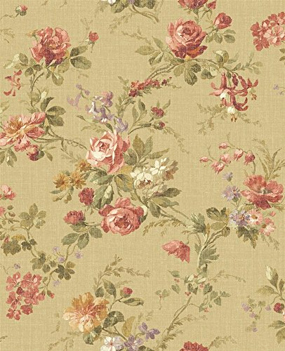 Floral Designer Wallpaper (Wallpaper Designer French Country Cottage Floral Roses and Wisteria)