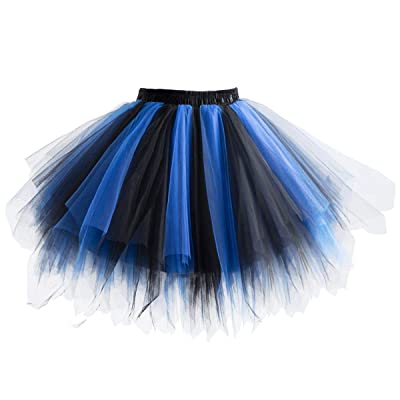 1950s Vintage Petticoats Short Tulle Prom Dress Up Tutu Petticoat Crinolines Ballet Bubble Skirt (Royal Blue) at Amazon Women's Clothing store