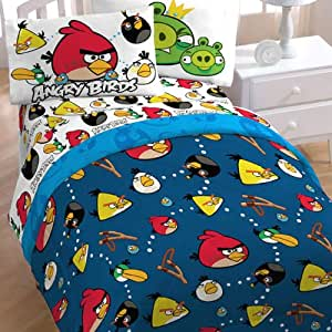 4pc Angry Birds Madness Bedding Set - Video Game Application Bed-in-Bag Twin Bed