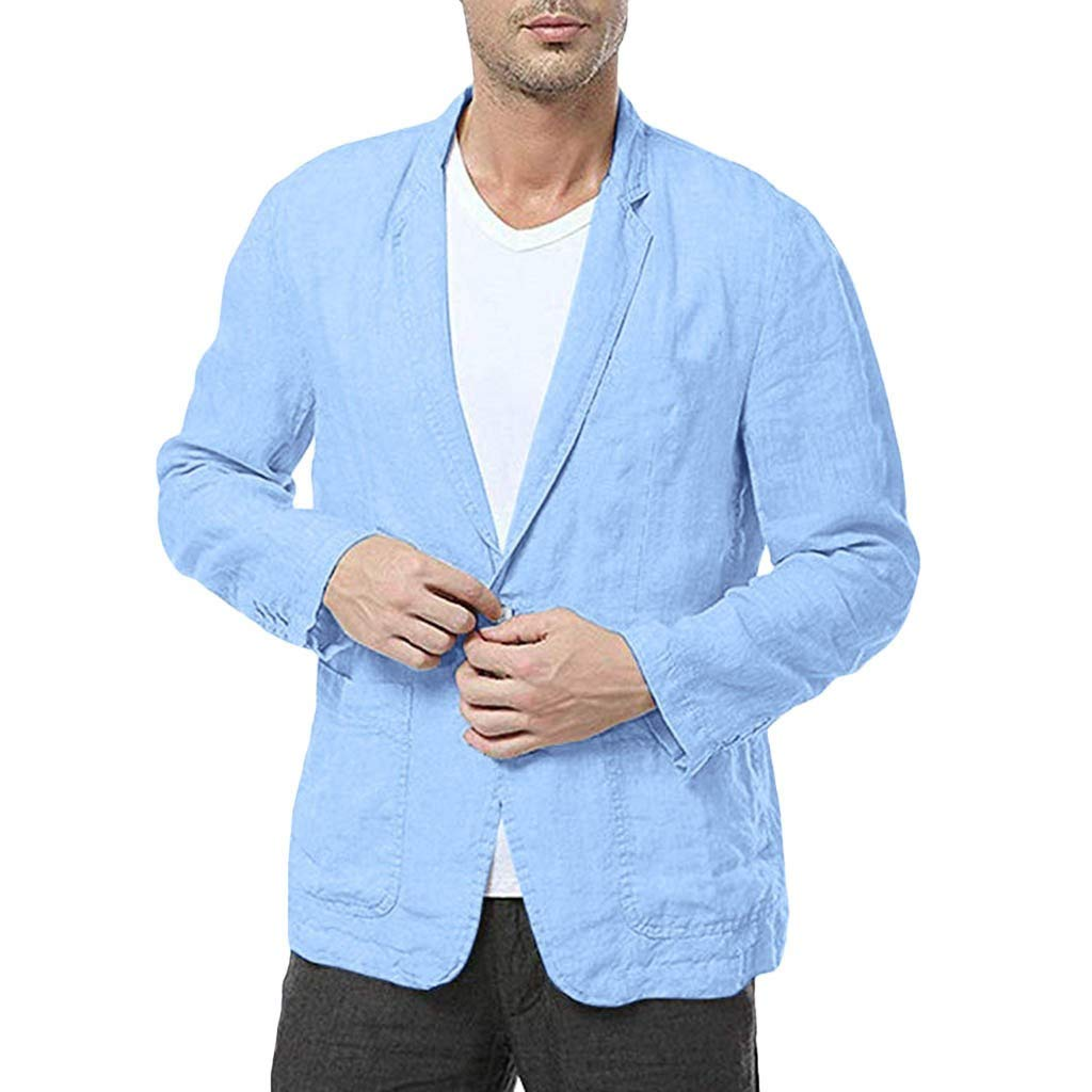 Mens Cotton Linen Tailored Blazer Casual Slim Fit Suits Button Beach Wedding Outfits Jacket Coat (XL, Light Blue) by sweetnice man clothing