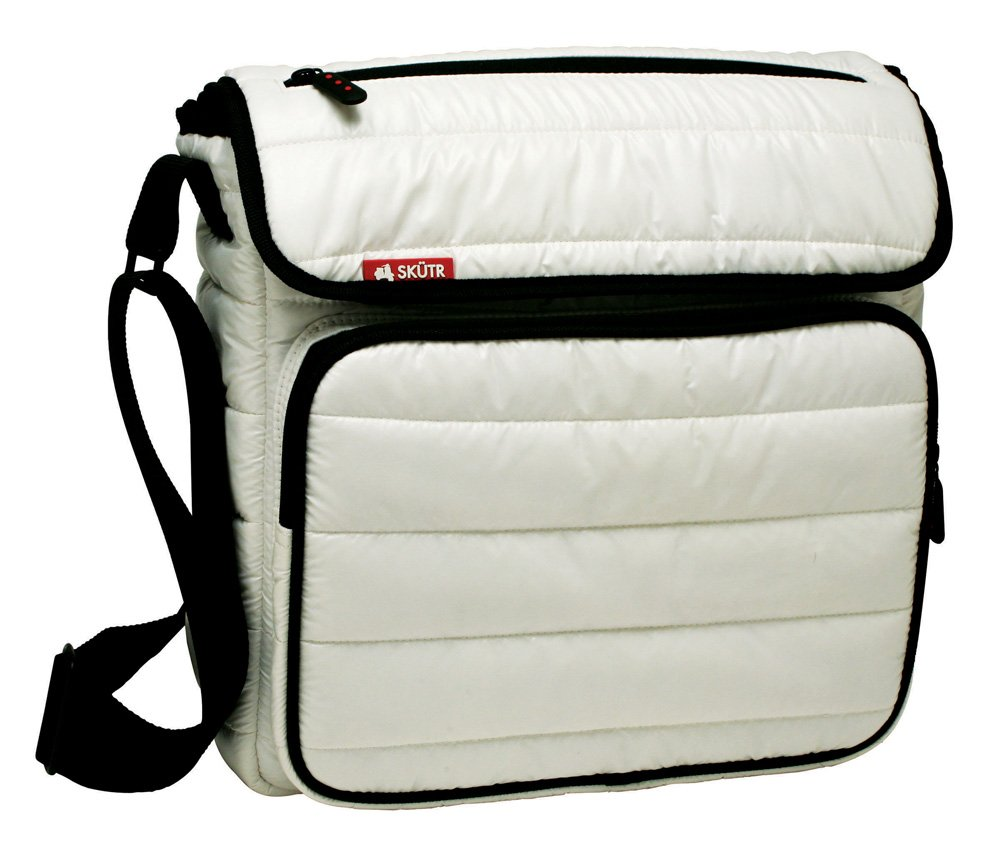 Skutr 8.5x11'' Messenger + Tablet Puffy Jacket Nylon Bag, White